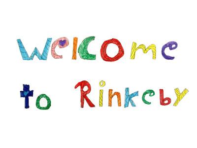 "En teckning med texten ""welcome to Rinkeby""."