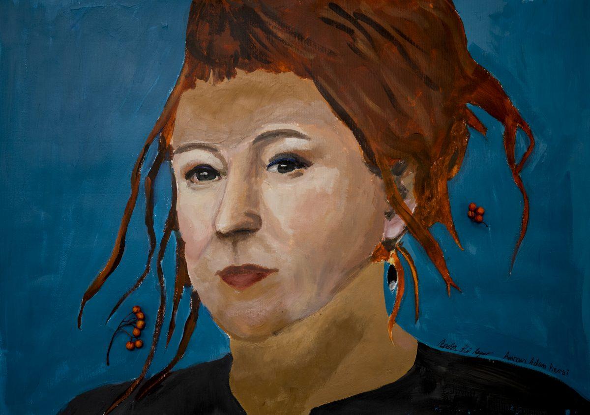 Ett porträtt av Olga Tokarzcuk målat av Anita Ali Asgar och Amran Adan Hersi.