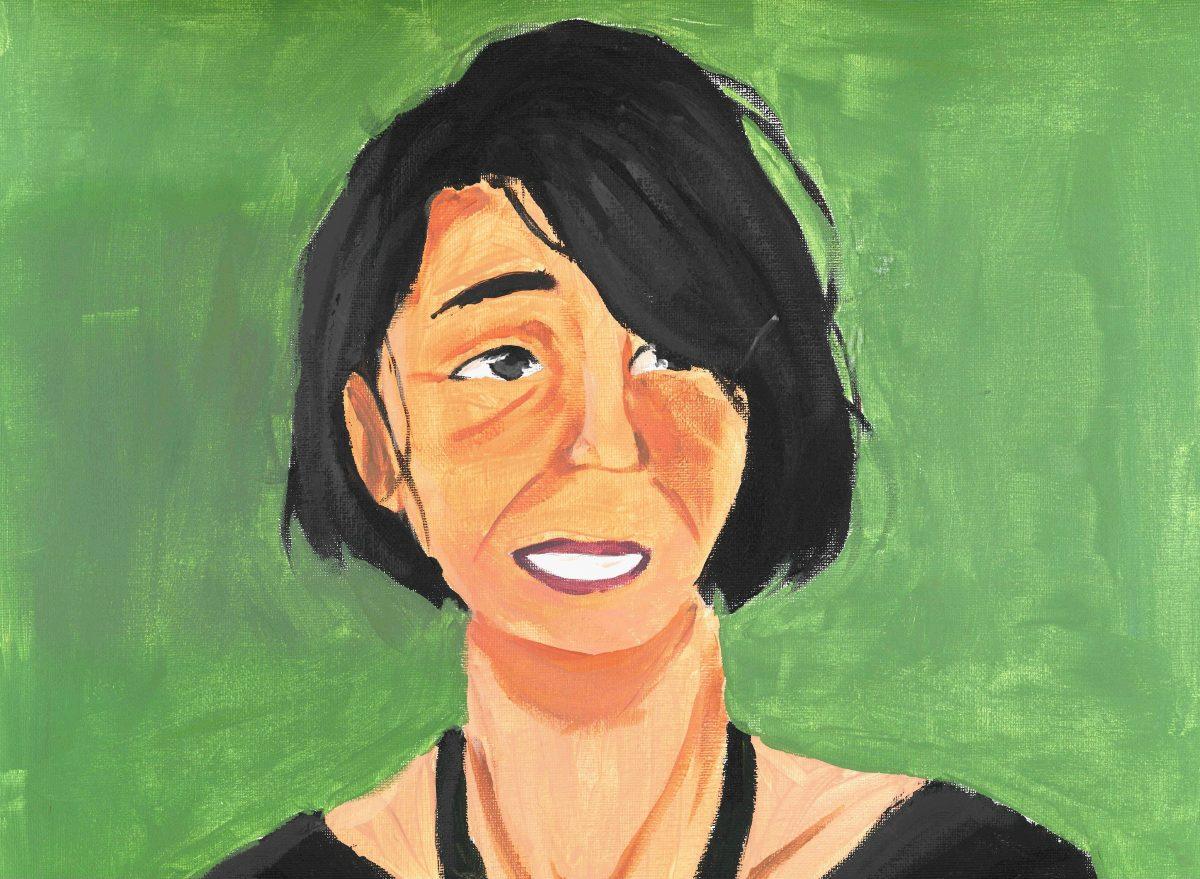 Ett målat porträtt av Lousie Glück med grön bakgrund.