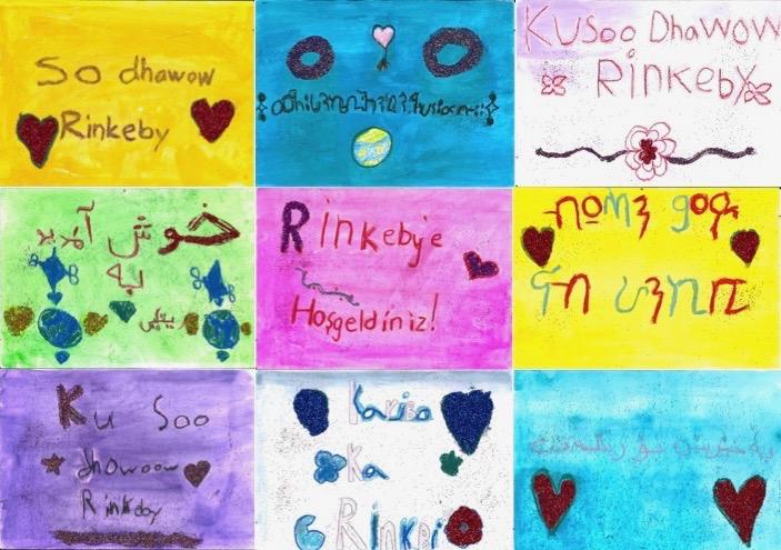 Välkommen till Rinkeby-skyltar på nio språk.