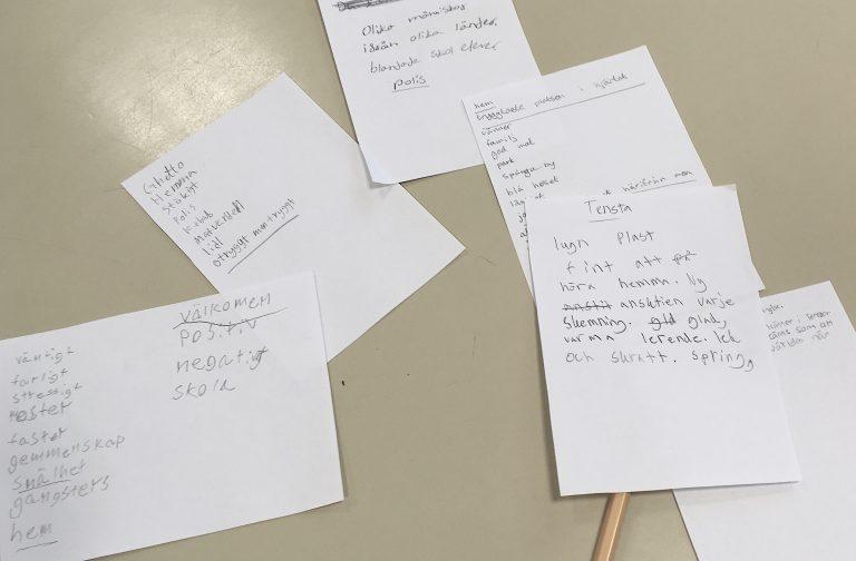 Handskrivna lappar med ord som beskriver Tensta.